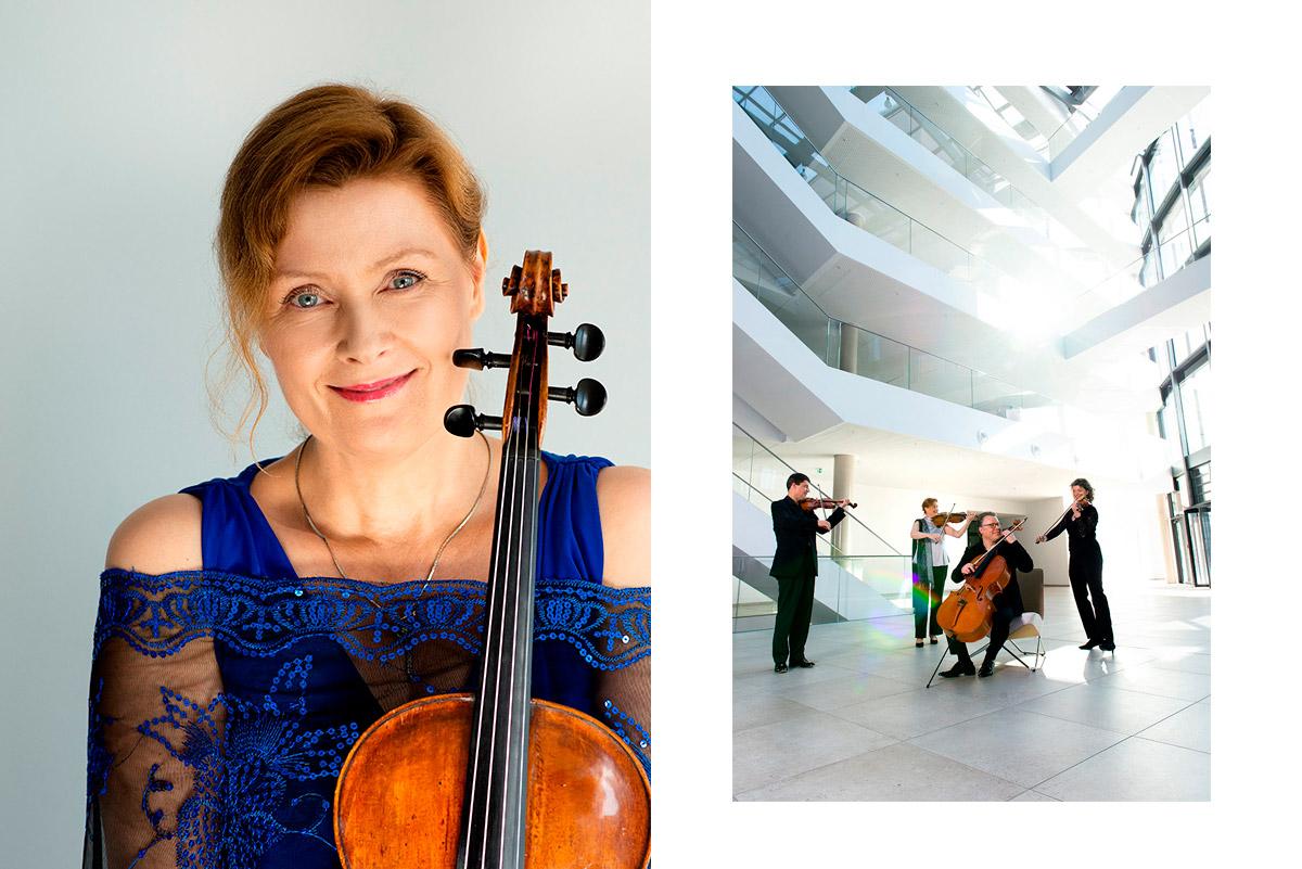 Künstlerportrait Fotografie von Monika Henschel und das Ensemble beim Musizieren in der Lobby der Firma brainlab |Felix Krammer Fotografie