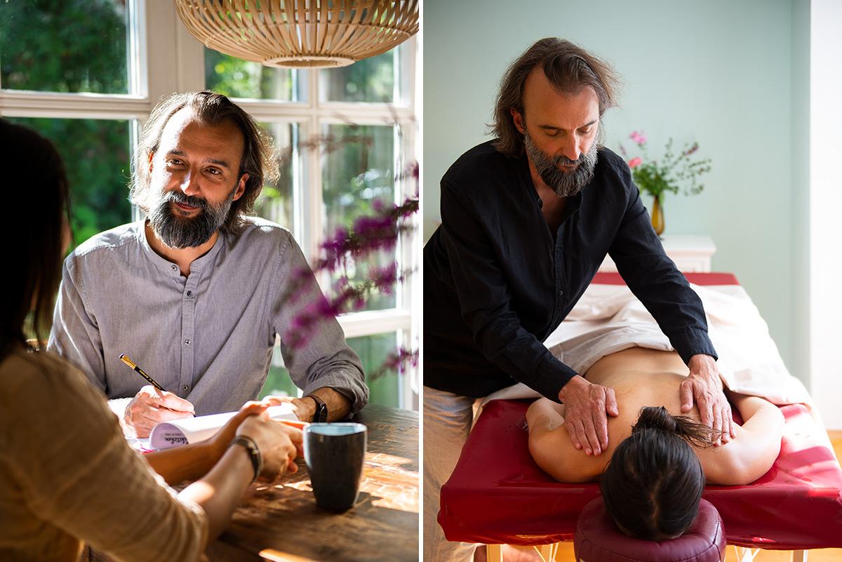 Firmenportrait von Martin Svitek bei der Anamnese und einer Ayurveda Massage |Felix Krammer Fotografie