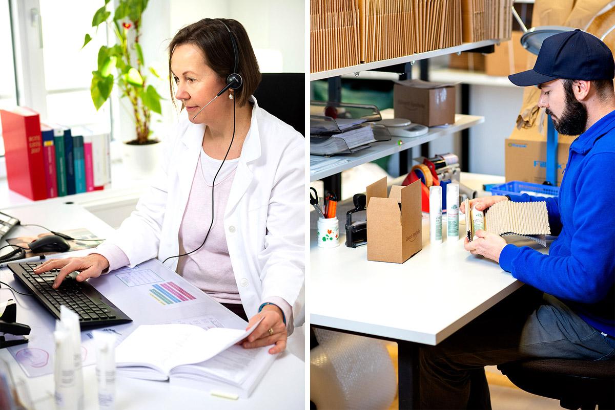 Unternehmensfotografie: Apothekerin berät telefonisch mit Headset - rechts: Mann verpackt Ware in der Versandtabteilung |Felix Krammer Fotografie